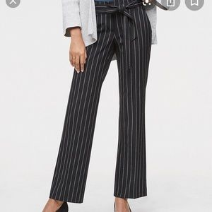 Loft Tie-Waist Black Striped Trouser Pants. NWT